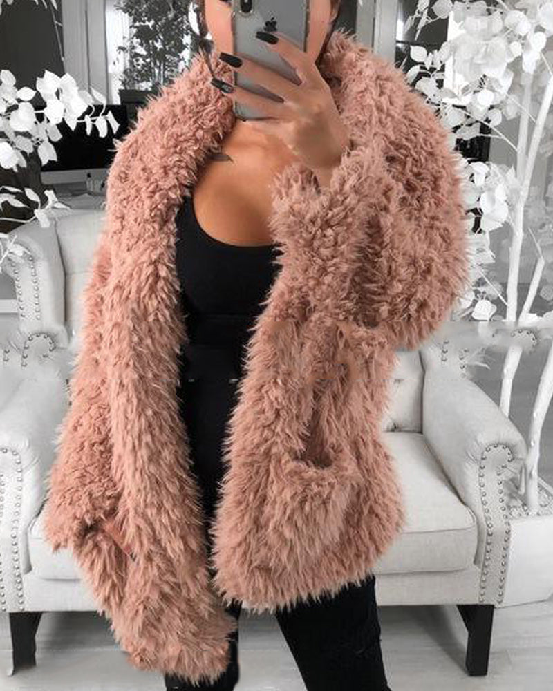 Faux Shearling Double Pocket Coat