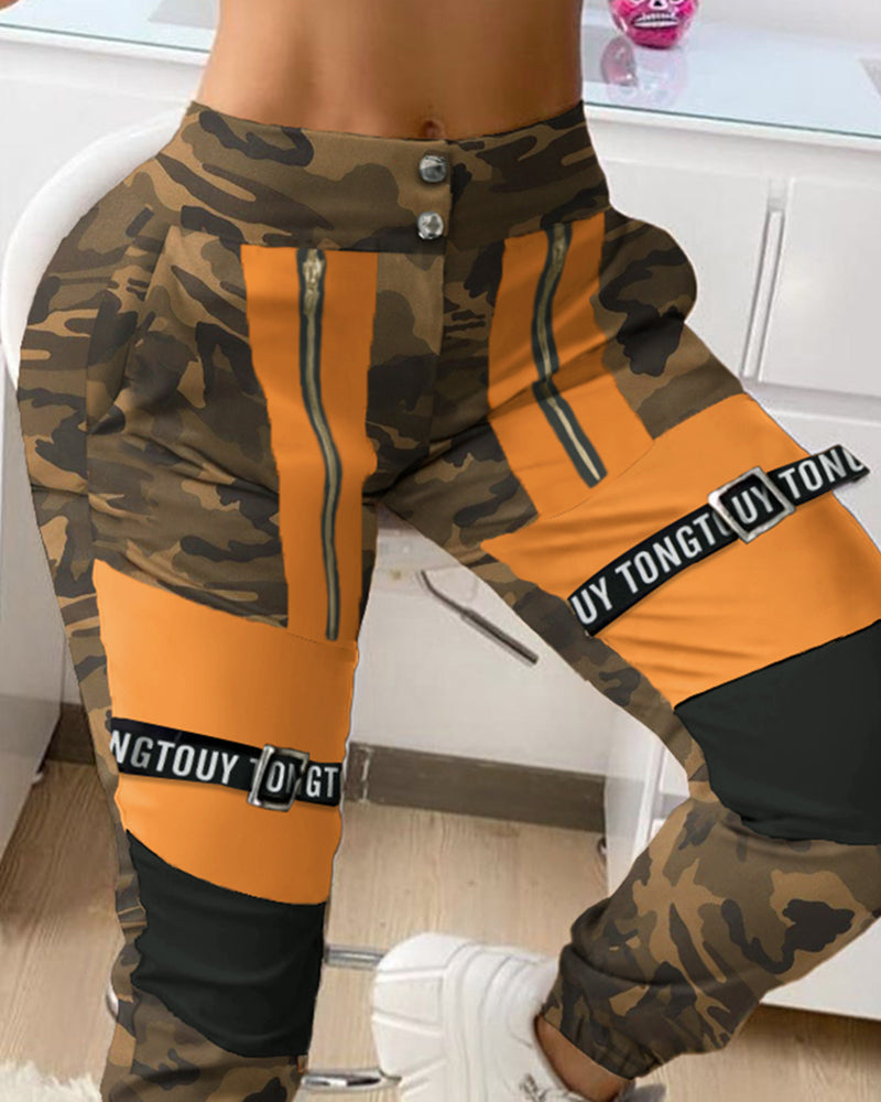 Camouflage Letter Print Colorblock High Waist Cargo Pants