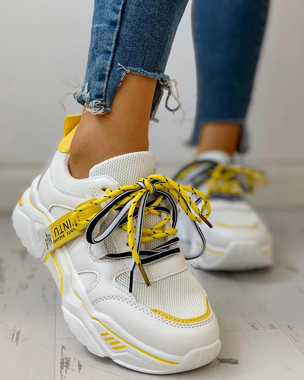 Platforms Lace-Up Breathable Casual Sneakers