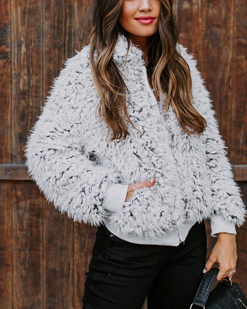 Solid Faux Fur Bomber Jacket