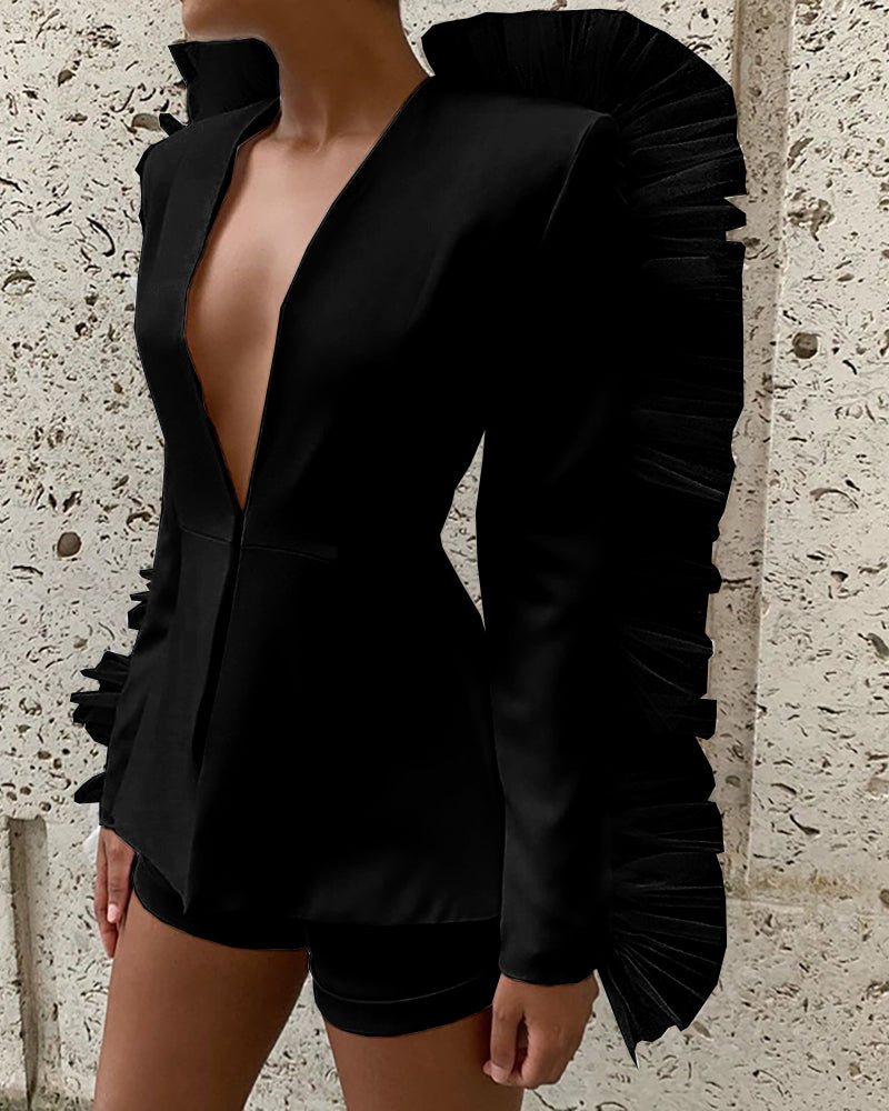 Solid Tight Waist Coat & Slinky Short Sets