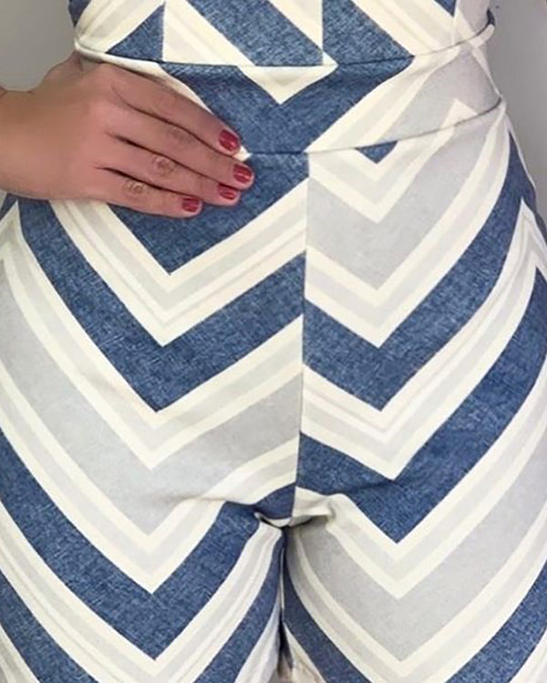 One Shoulder Chevron Stripes Romper