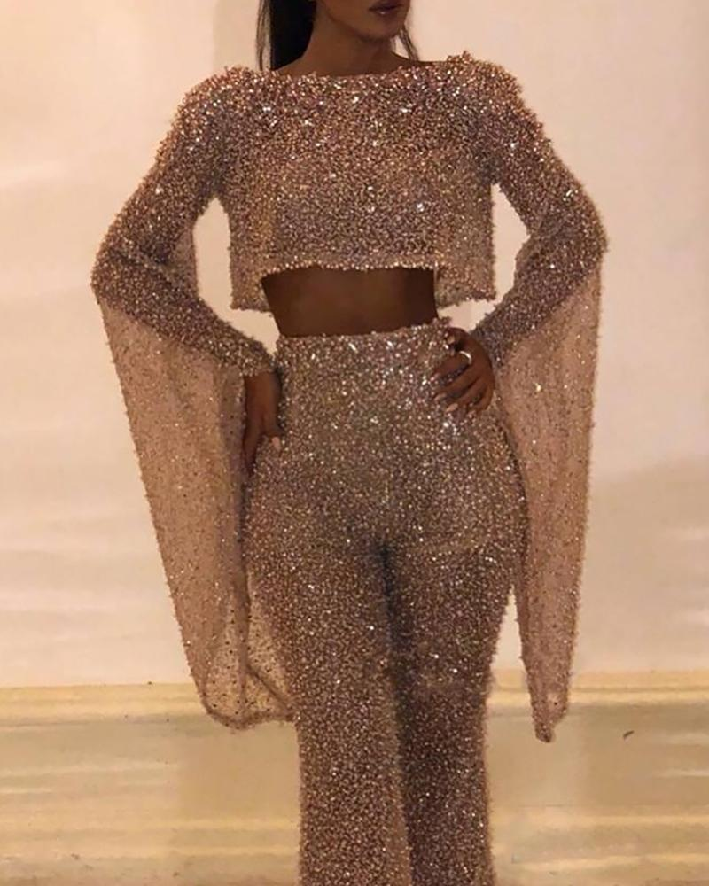 Sequins Batwing Sleeve Cropped Jumpsuit