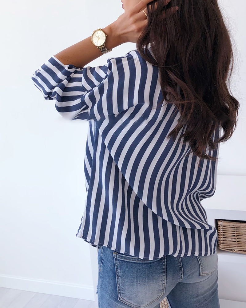 Turn-down Collar Colorblock Striped Buttoned Shirt