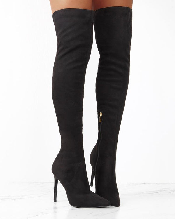 Back Ladder Cutout Knee-high Stiletto Boots