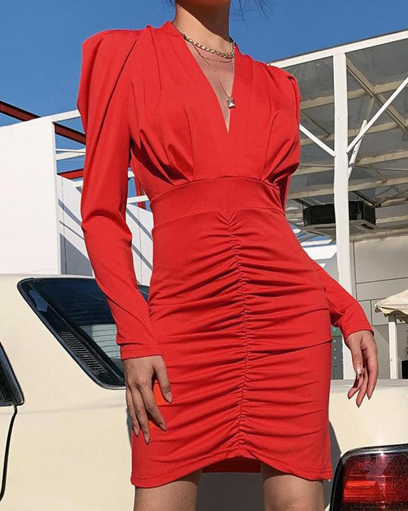 Deep V Bodycon Ruched Dress