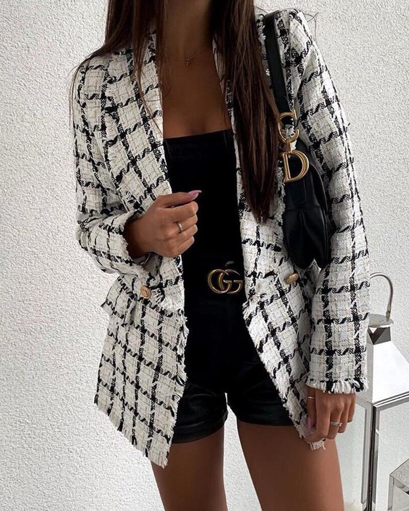 Grid Print Button-Up Blazer