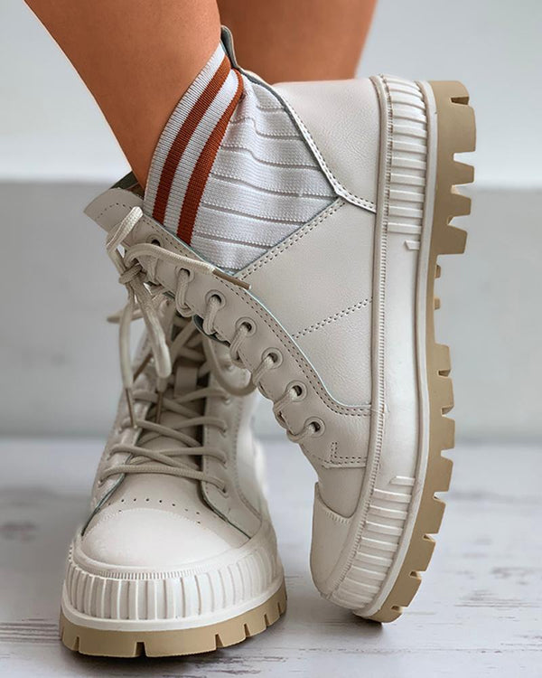 Striped Colorblock Lace-up Sneaker