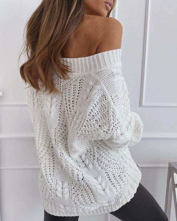 Plain Hollow Out Cable Knit Sweater