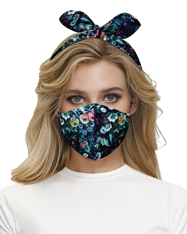 Floral Print Hairband Breathable Face Mask