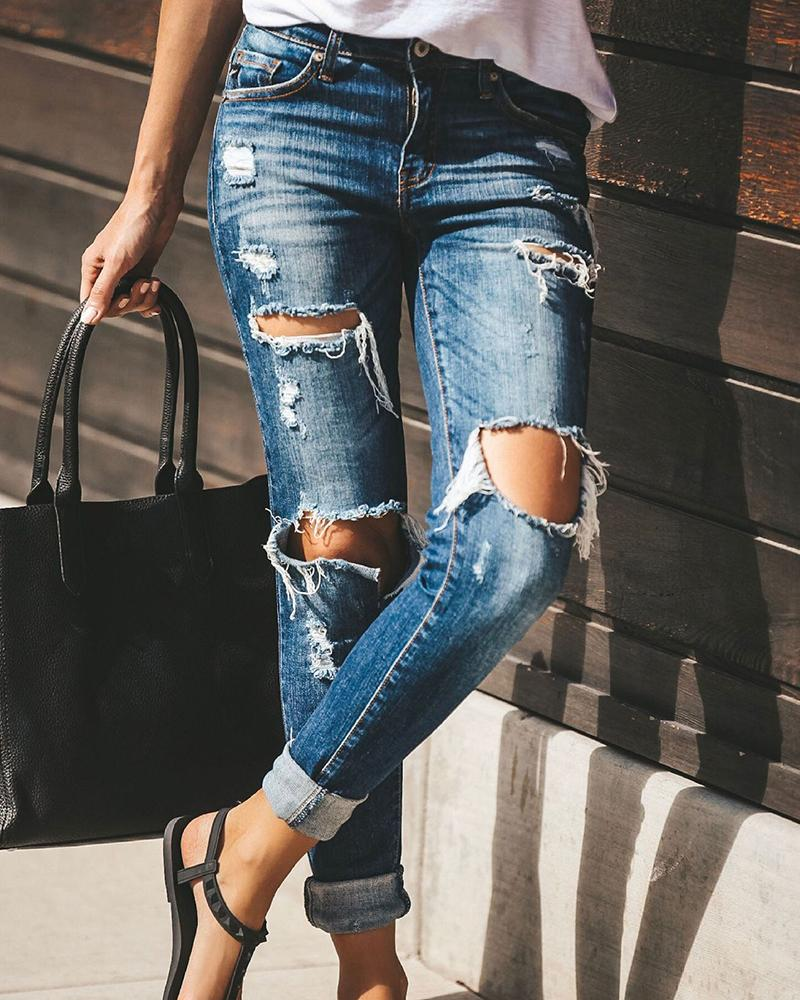 Casual Slim Fit Ripped Jeans