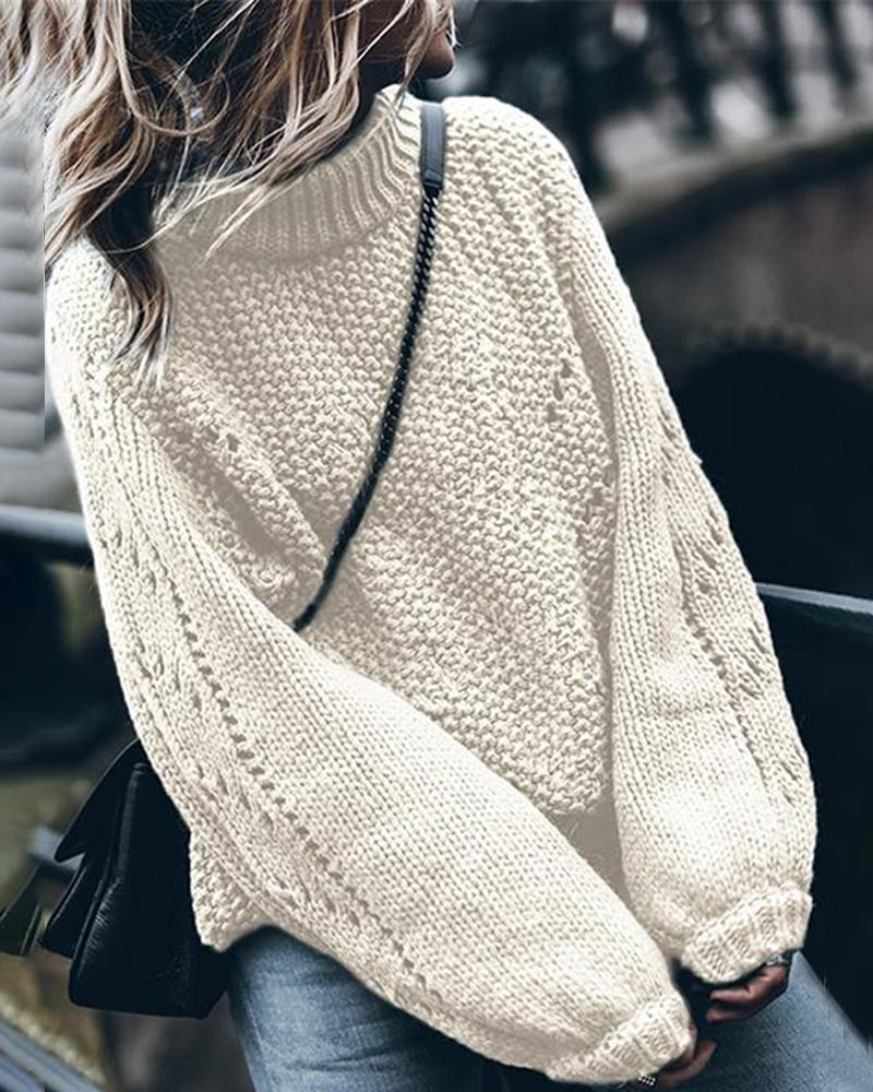 High Neck Hollow Out Knitting Loose Sweater