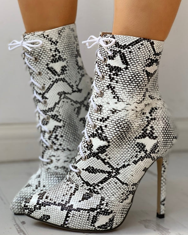 Snakeskin Print PU Pointed Toe Thin Heeled Boots