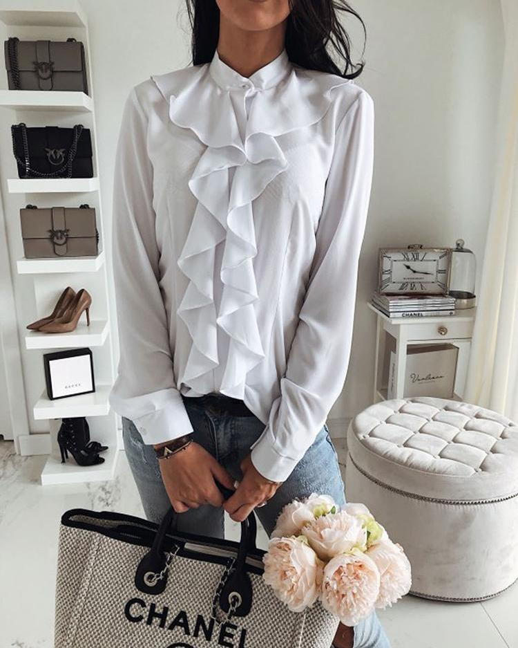 Solid Ruffles Design Long Sleeve Casual Blouse