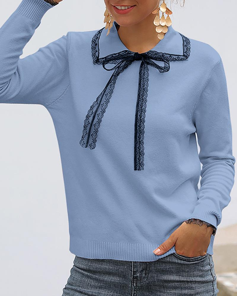 Turn-down Collar Ribbed Bowknot Lace Insert Sweater
