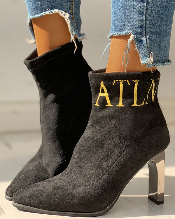 Suede Pointed Toe Thin Heeled Ankle-Boots