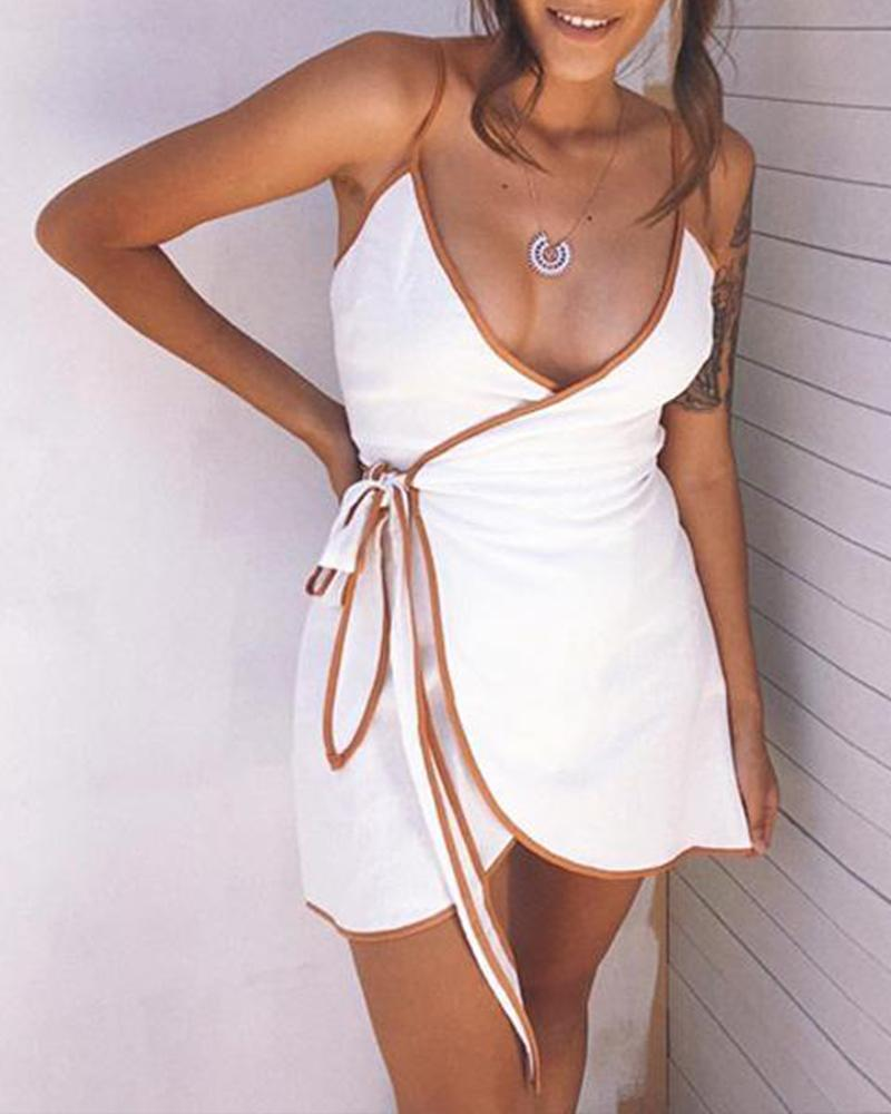 Contrast Trim V Neck Mini Dress