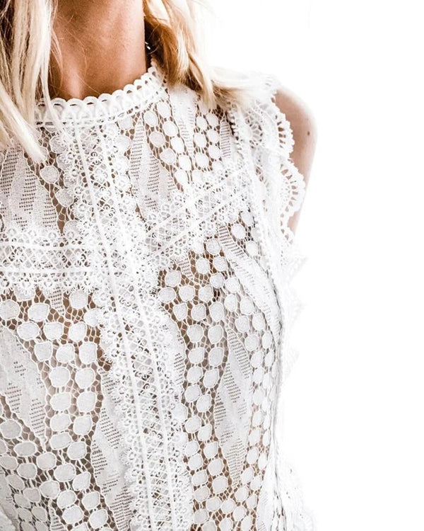 Crochet Lace Ruffles Sleeveless Top