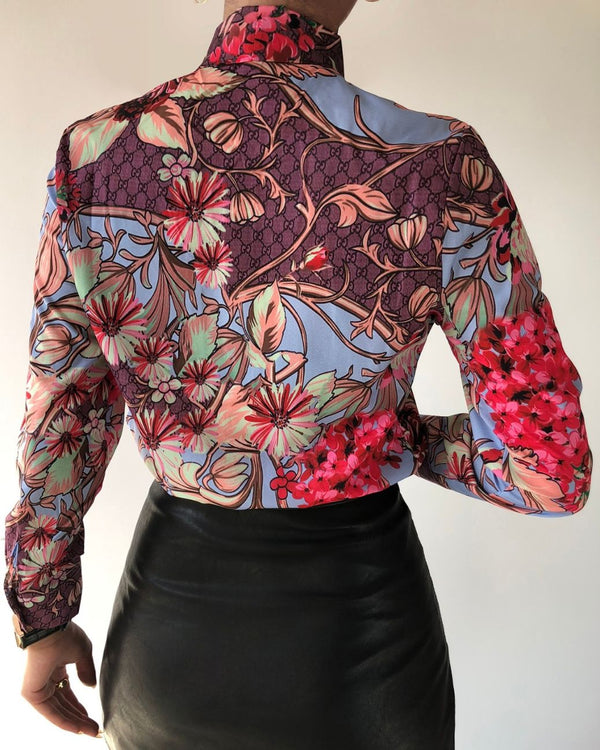 Floral Print Tie Front Long Sleeve Shirt