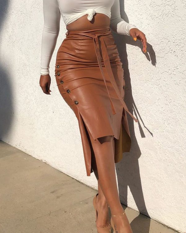 Buttoned Slit PU Leather Midi Skirt
