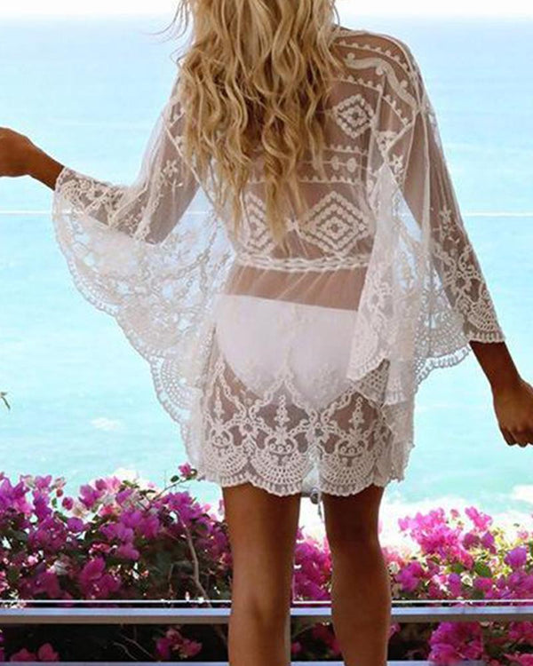 Lace Mesh Beach Cover-Up