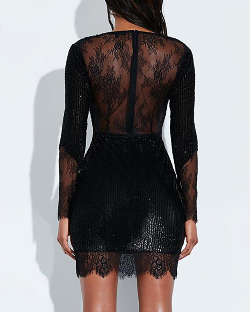 Glitter V Neck Lace Insert Sequins Dress