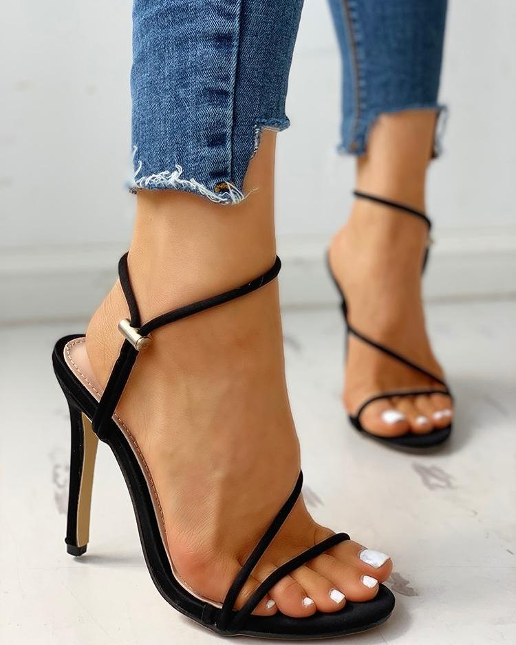 Open Toe Slingback Thin Heeled Sandals