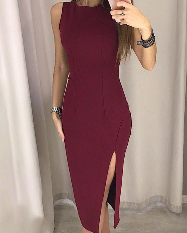 Solid Thigh Slit Sleeveless Pencil Dress
