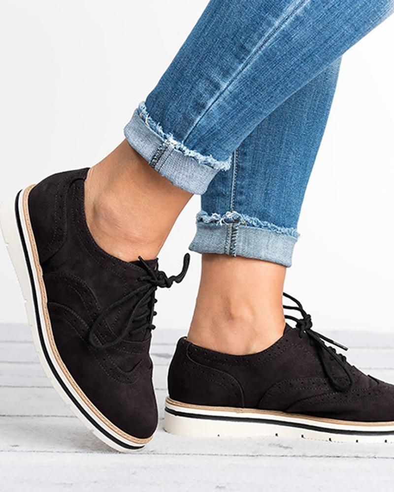 Plain Lace-Up Oxford Shoes