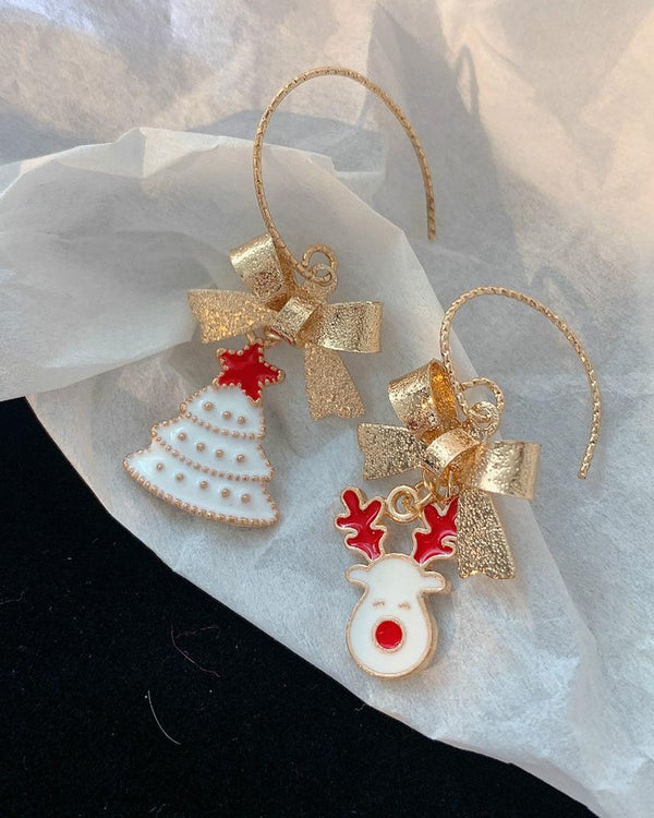 Christmas Bowknot Moose Pattern Drop Earrings