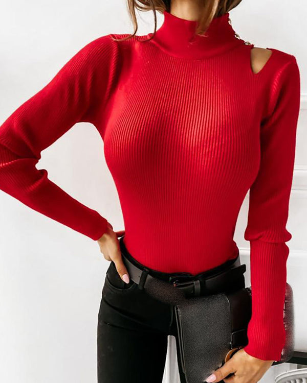 High Neck Cutout Long Sleeve  Sweater