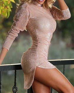 Glitter Mock Neck Puff Sleeve Side Slit Bodycon Dress