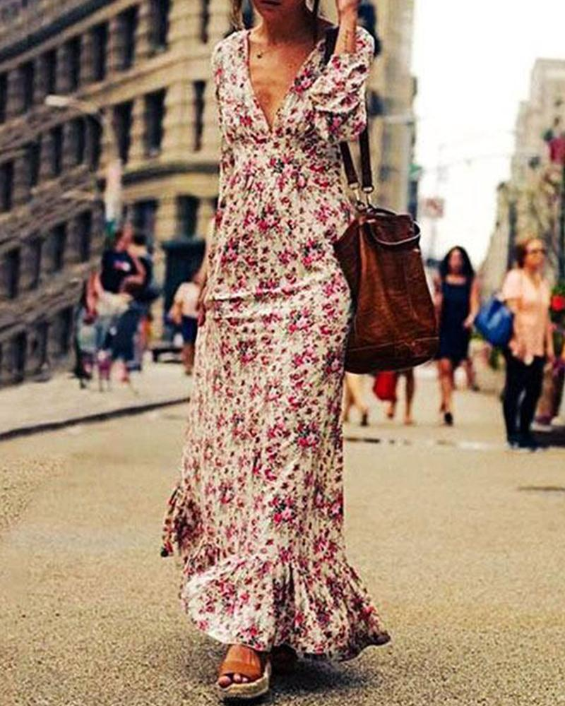 Small Flower Maxi Dress