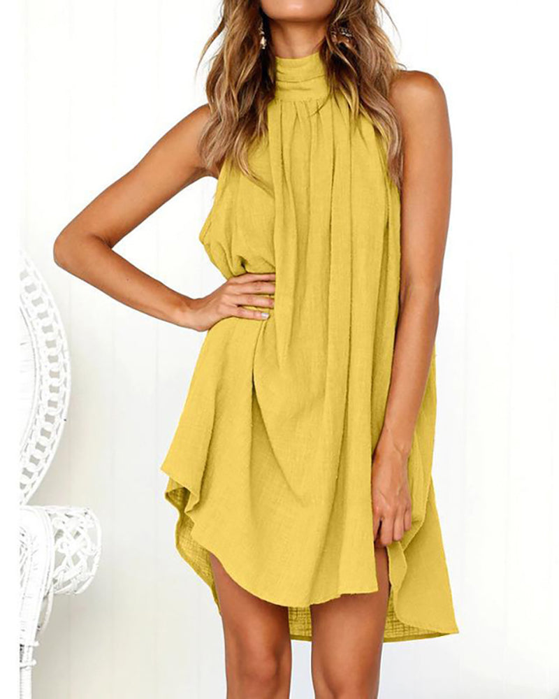 Halter Ruched Casual Dress