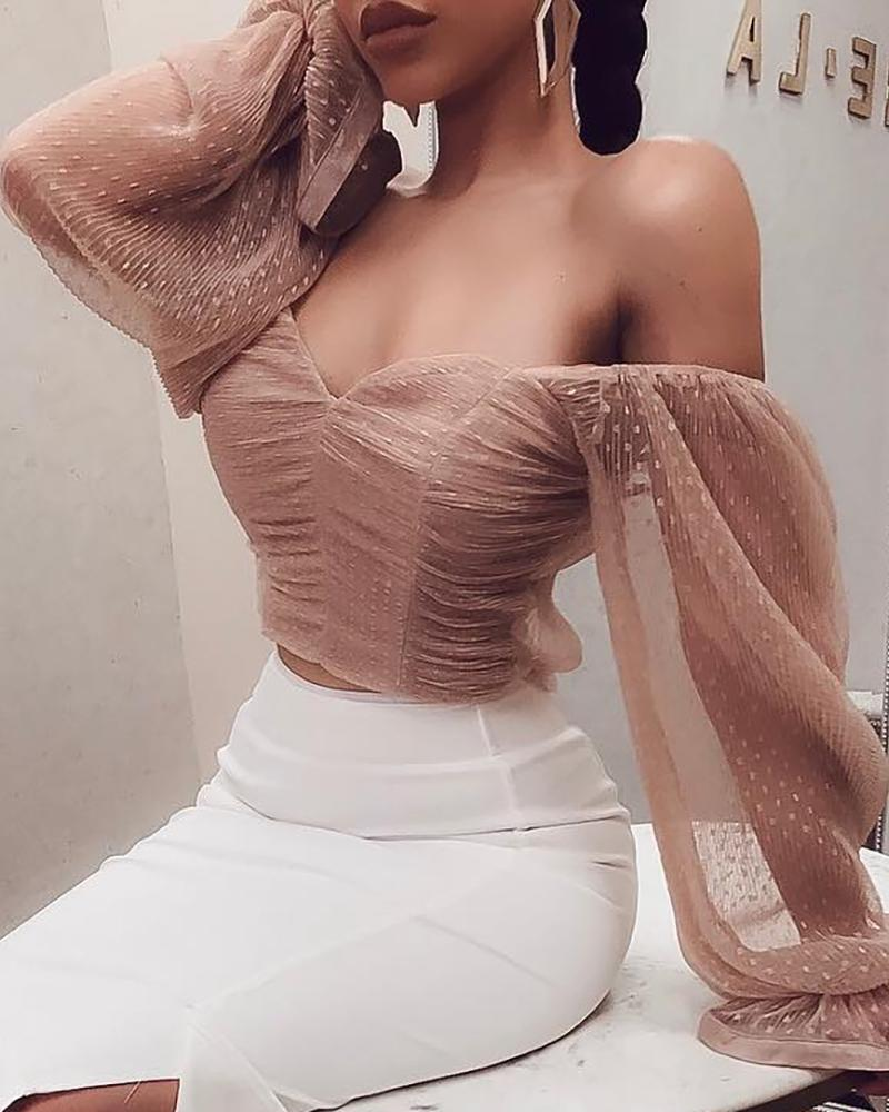 Off Shoulder Mesh Ruched Blouse