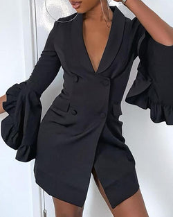 Solid Double Breasted Ruffles Cuff Blazer Dress