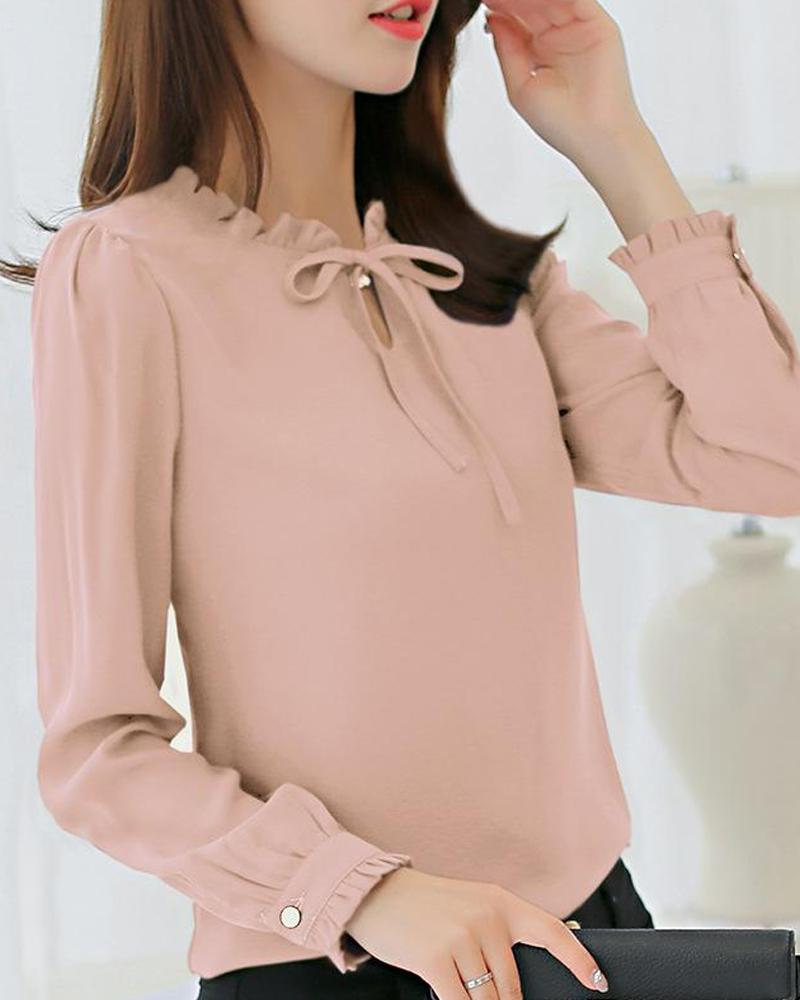 Tie Neck Chiffon Top