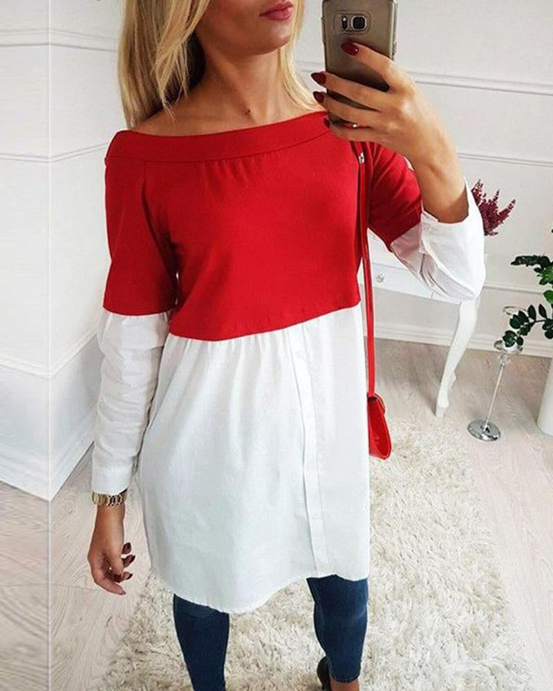 Two Color Off Shoulder Tunic Top