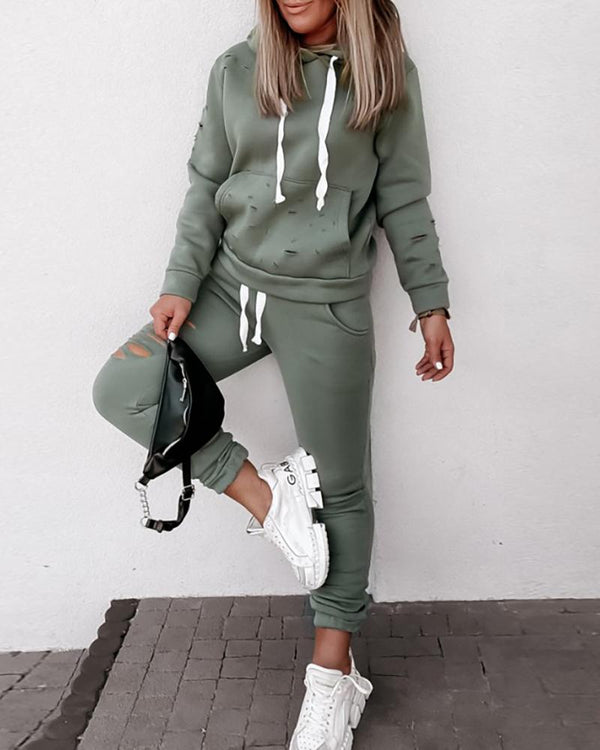 Cutout Pocket Design Hooded Top & Drawstring Pants Set