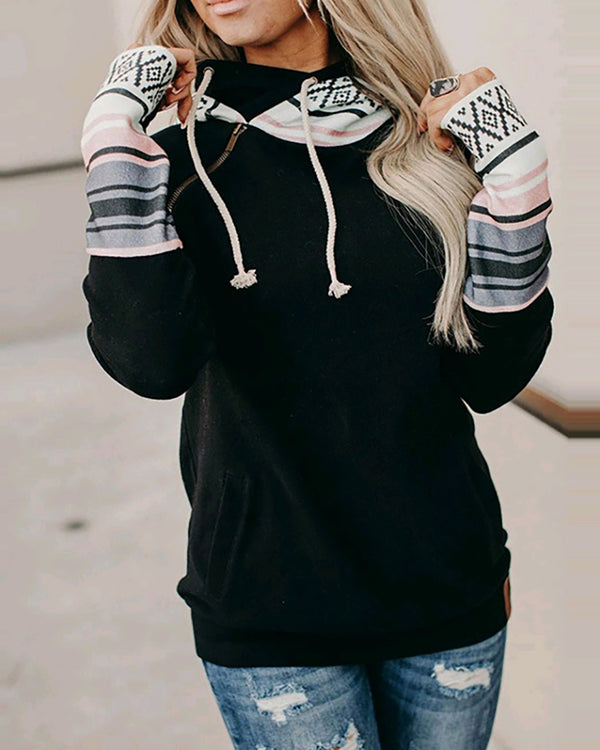 Colorblock Zipper Design Long Sleeve Hoodie