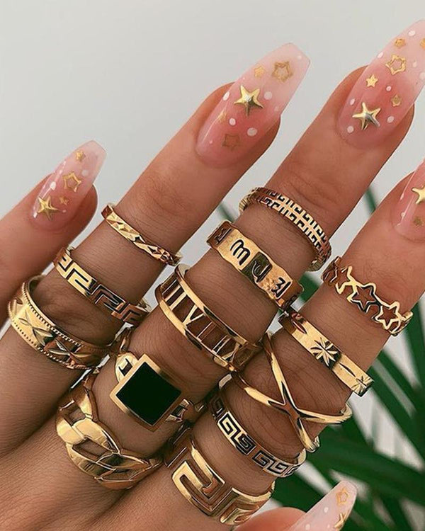 13PCS Geometric & Star Design Rings Set