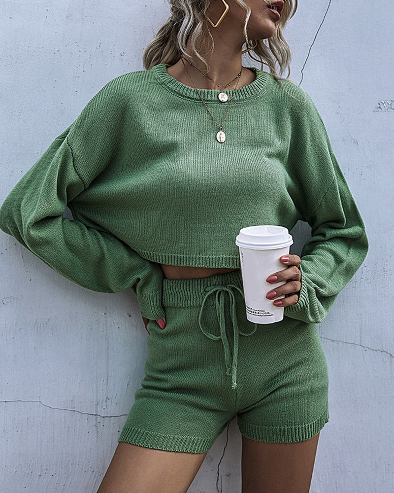 Plain Long Sleeve Knit Sweater & Drawstring Shorts Set