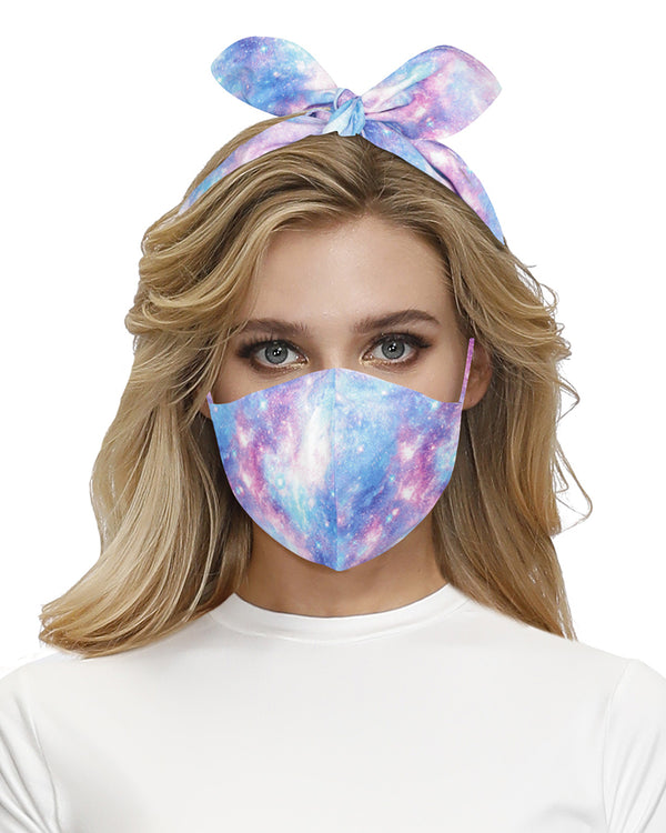 Starry Sky Print Hairband Breathable Face Mask