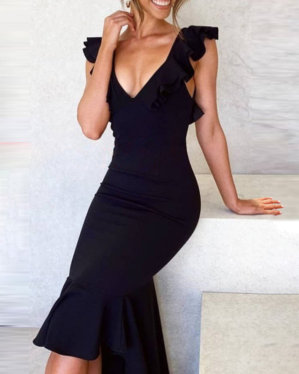 Deep V Neck Backless Ruffle Dress