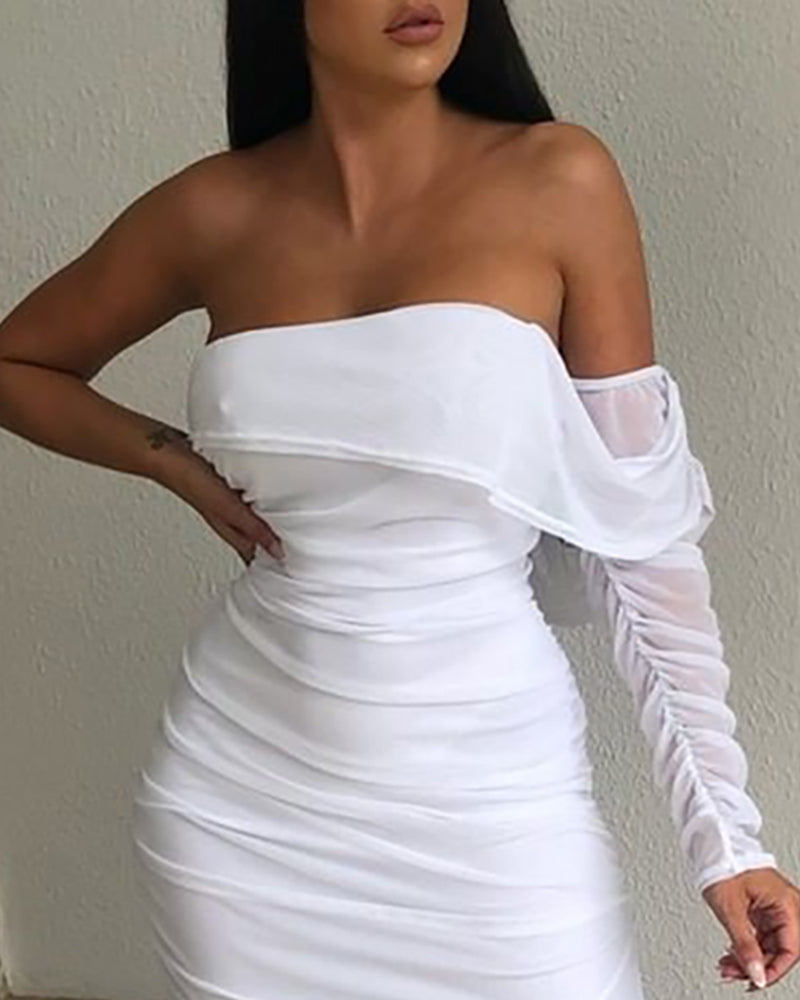 Solid One Shoulder Ruched Slit Bodycon Dress