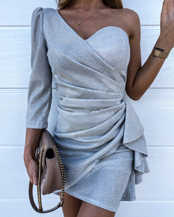 Glitter One Shoulder Ruched Ruffles Bodycon Dress
