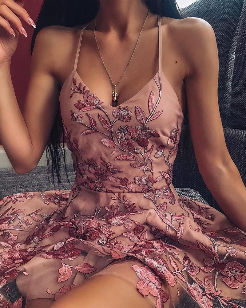 Low-Cut Embroidery Mini Slip Dress