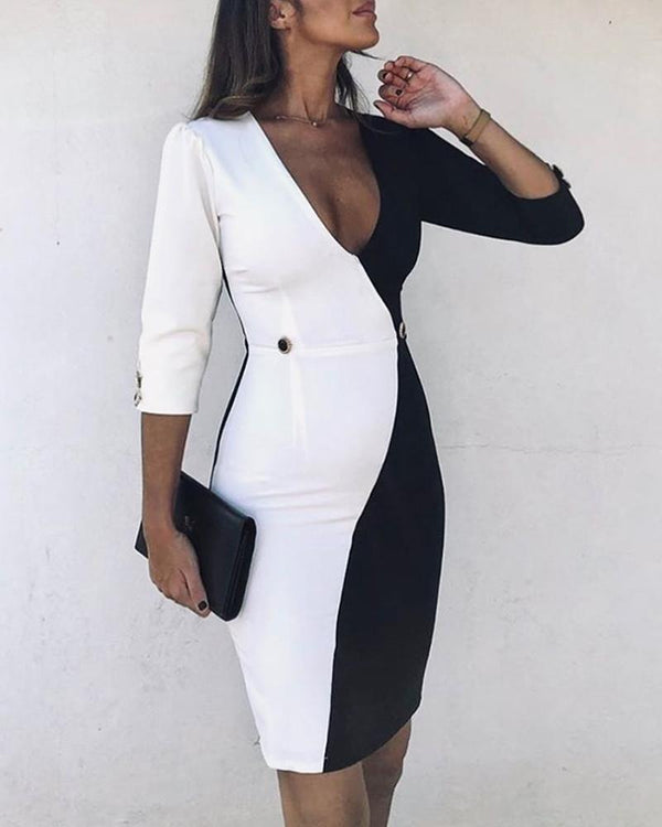 Buttoned Colorblock V-Neck Bodycon Dress
