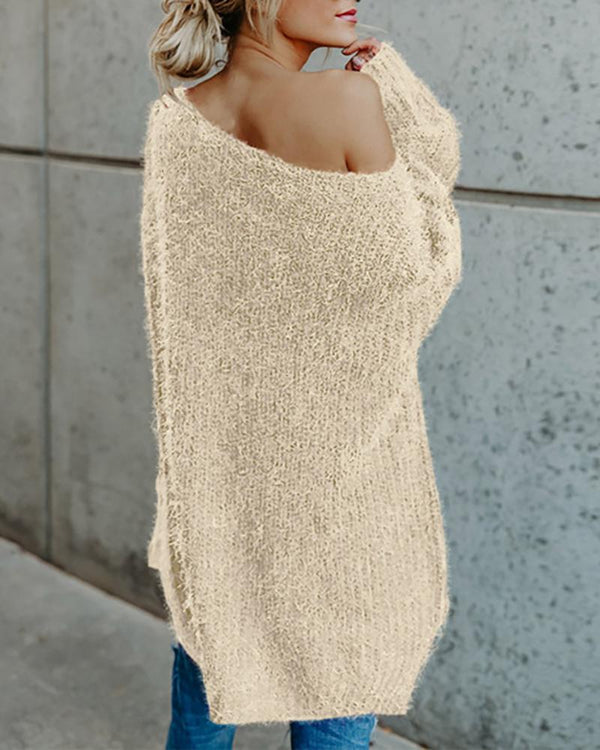 Solid One Shoulder Casual Sweater