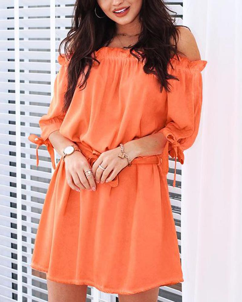 Off Shoulder Tie Waist Mini Dress